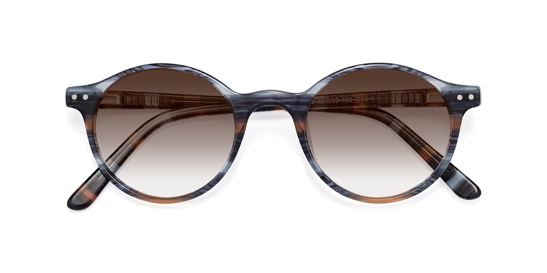 Folded Front of 17519 in Stripe Blue Brown with Brown Gradient Lenses