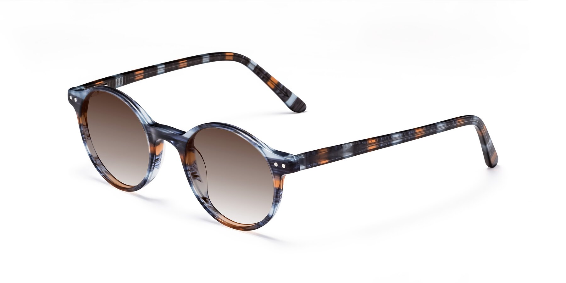 Angle of 17519 in Stripe Blue Brown with Brown Gradient Lenses