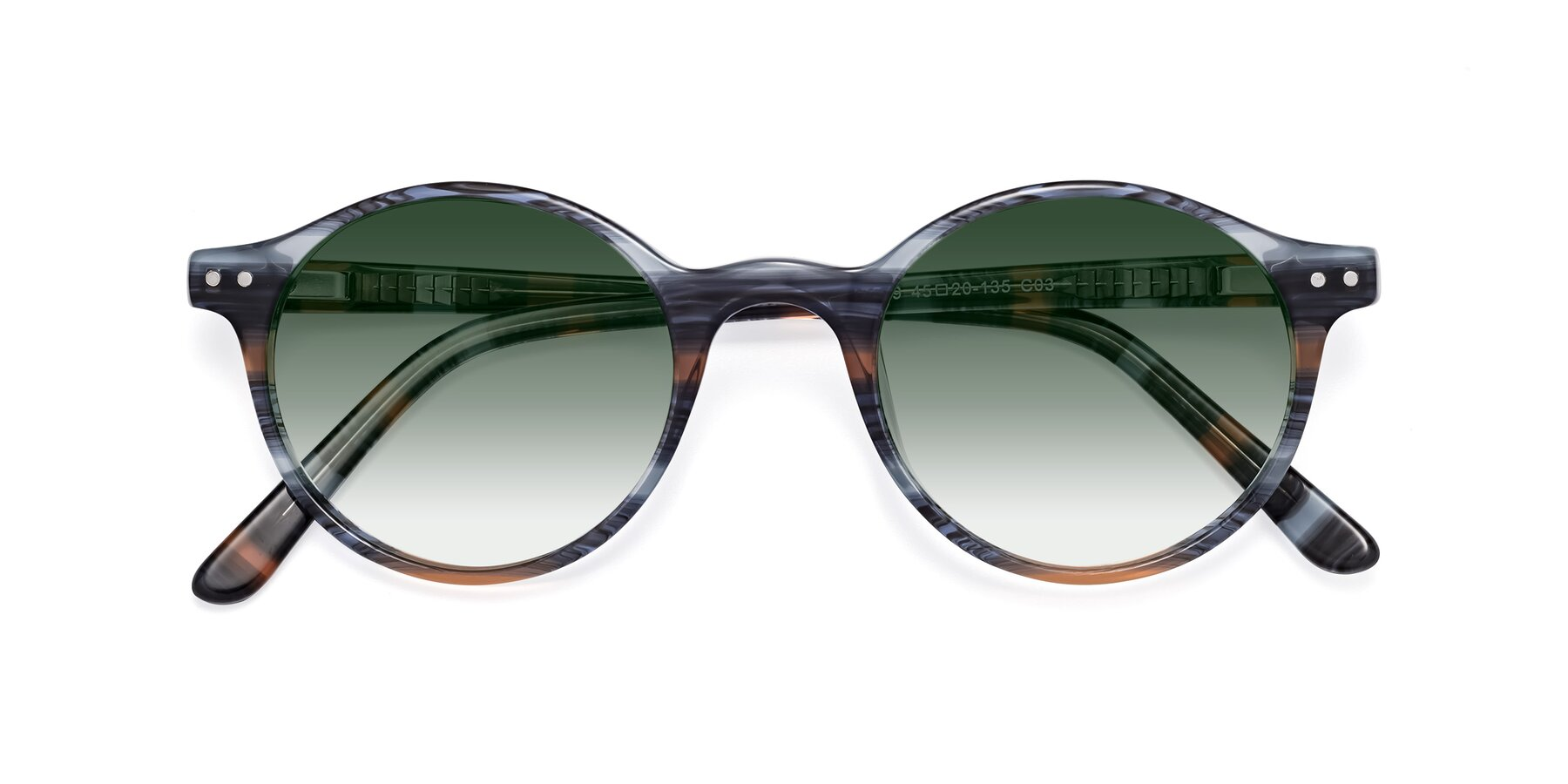 Folded Front of 17519 in Stripe Blue Brown with Green Gradient Lenses