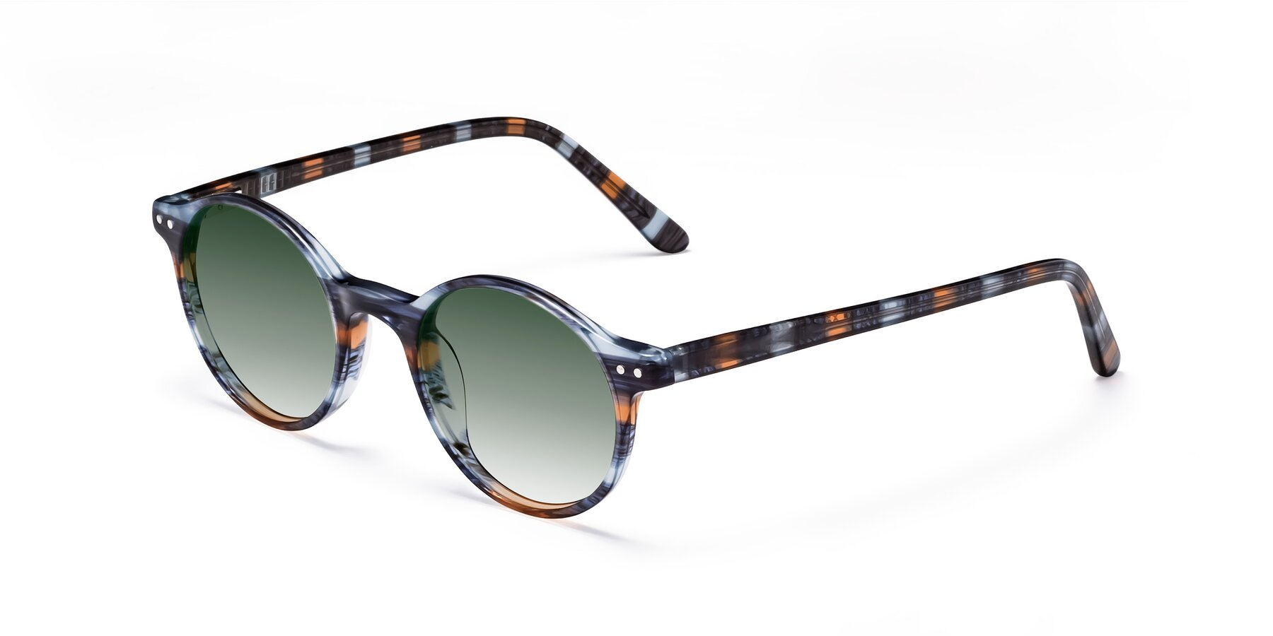 Angle of 17519 in Stripe Blue Brown with Green Gradient Lenses