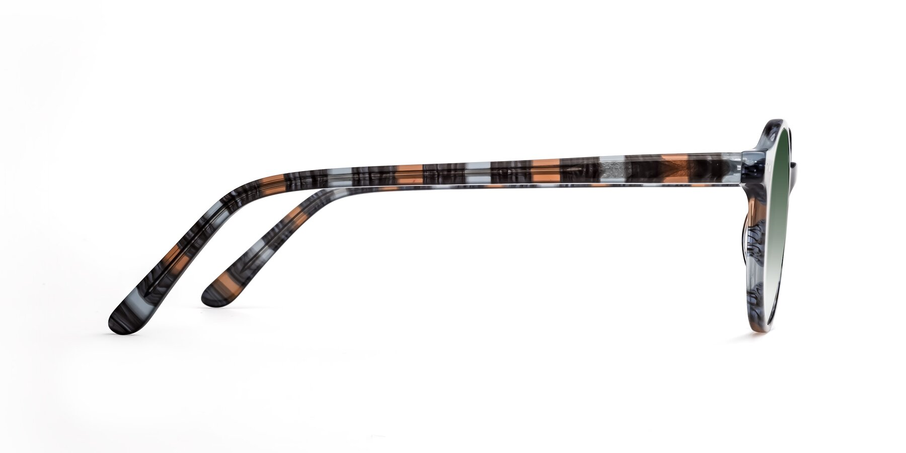 Side of 17519 in Stripe Blue Brown with Green Gradient Lenses