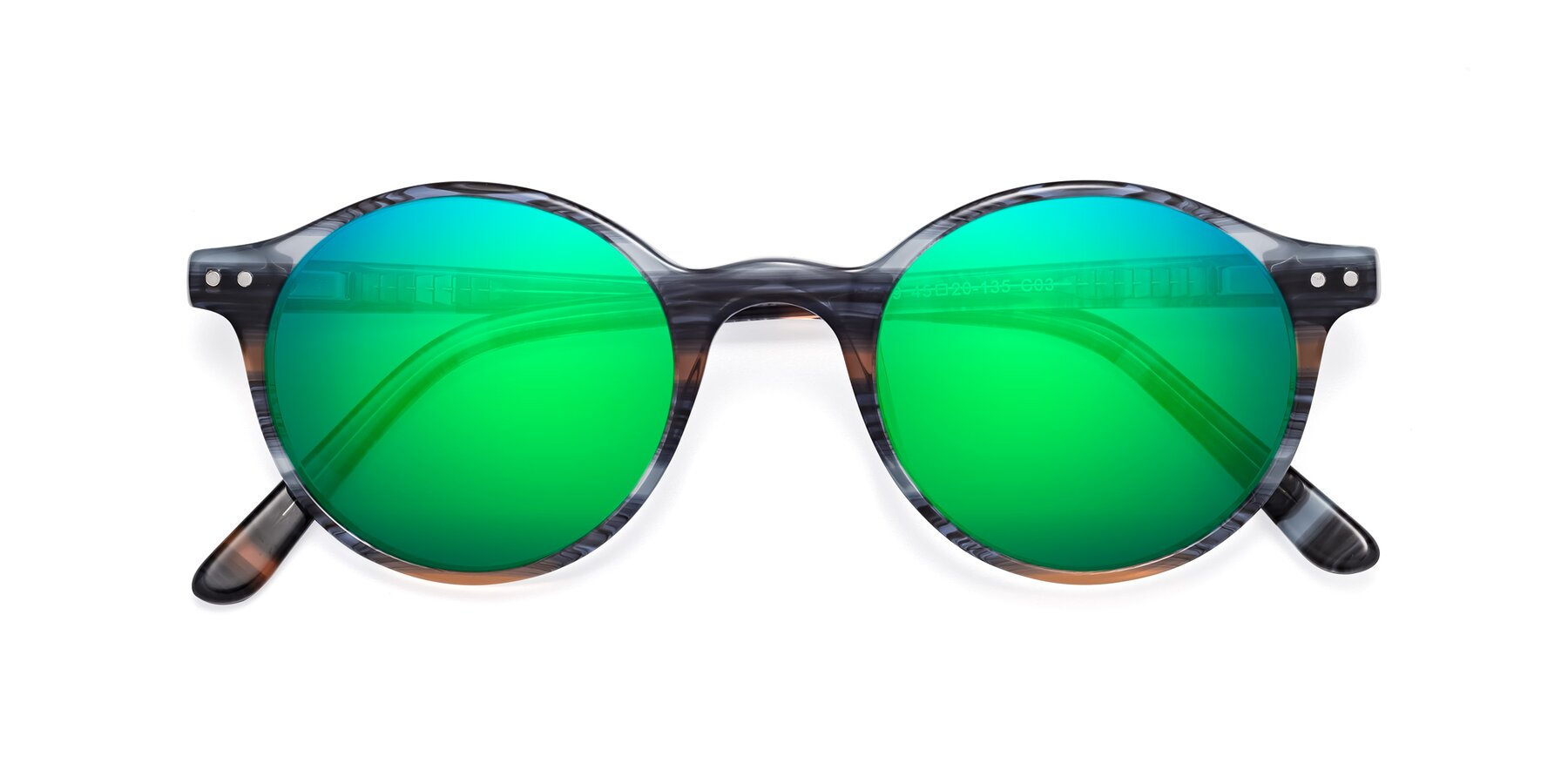 Folded Front of 17519 in Stripe Blue Brown with Green Mirrored Lenses