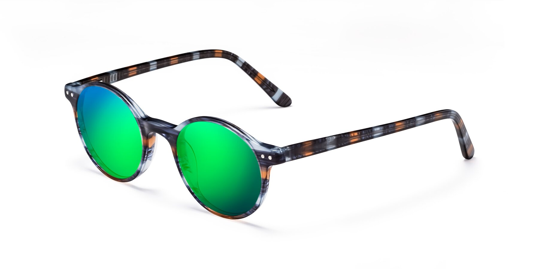 Angle of 17519 in Stripe Blue Brown with Green Mirrored Lenses