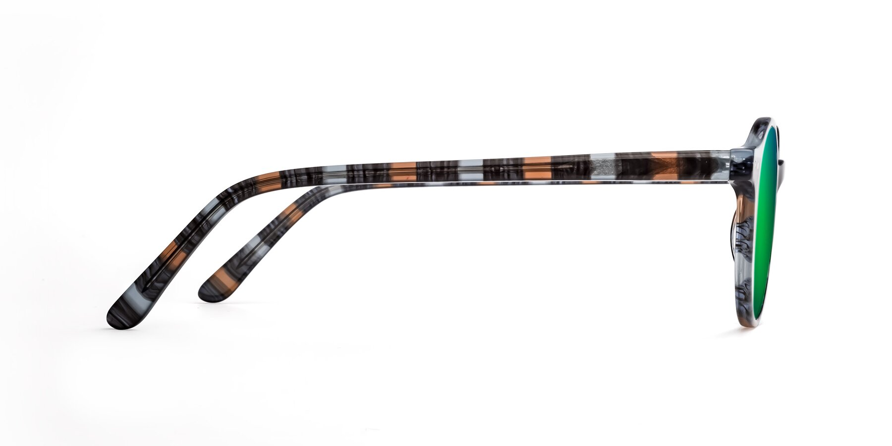 Side of 17519 in Stripe Blue Brown with Green Mirrored Lenses