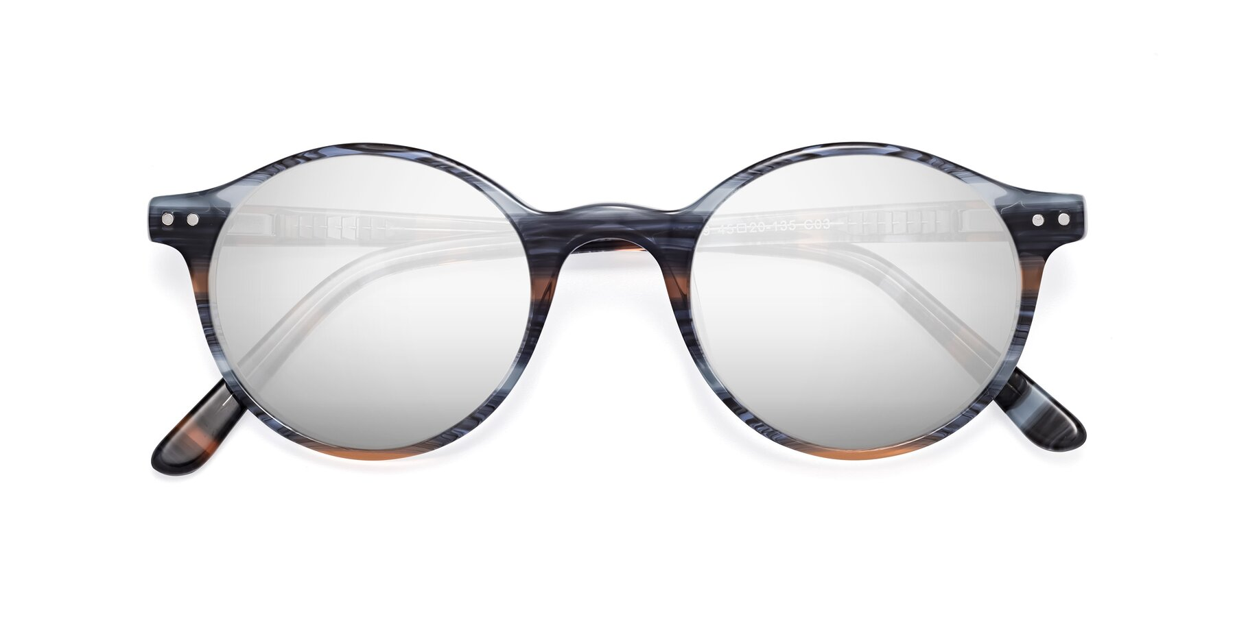 Folded Front of 17519 in Stripe Blue Brown with Silver Mirrored Lenses