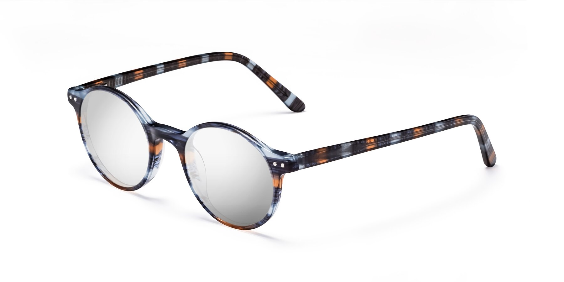 Angle of 17519 in Stripe Blue Brown with Silver Mirrored Lenses