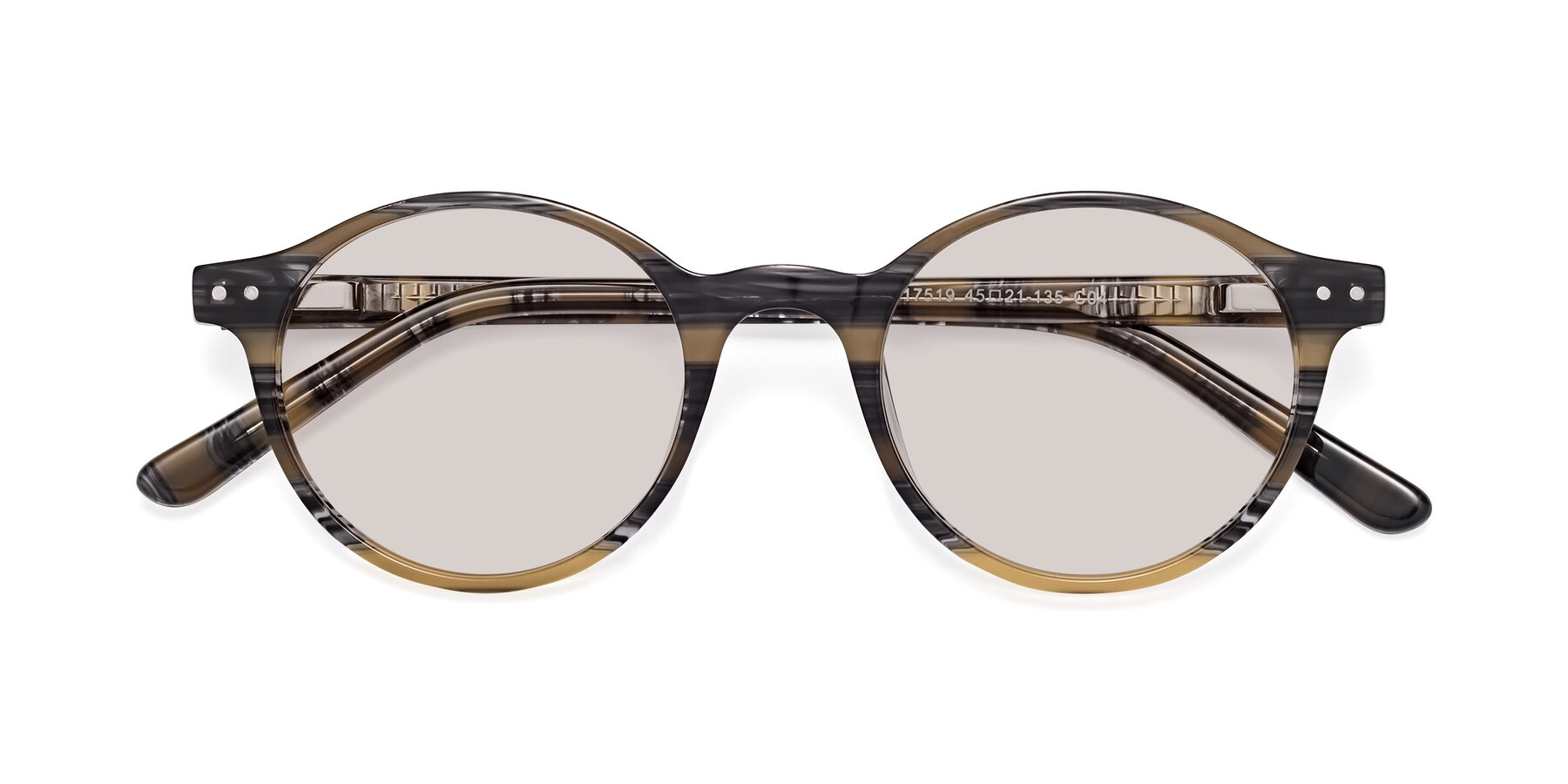 Folded Front of 17519 in Stripe Yellow Grey with Light Brown Tinted Lenses