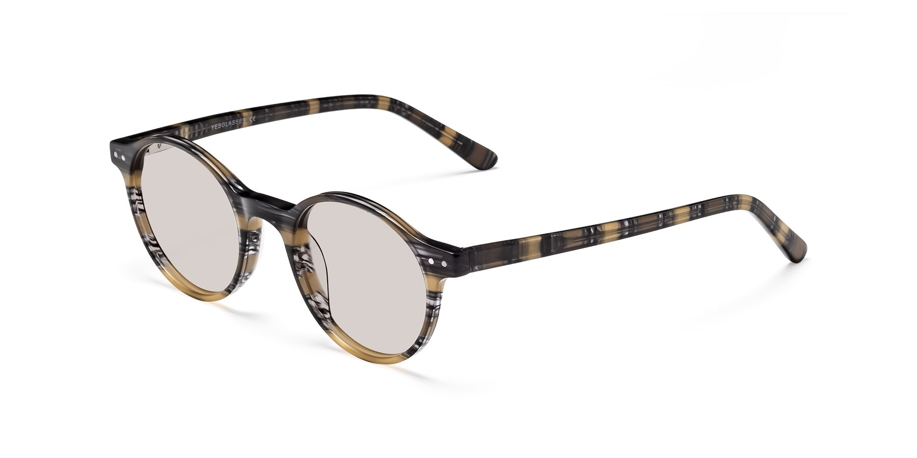 Angle of 17519 in Stripe Yellow Grey with Light Brown Tinted Lenses