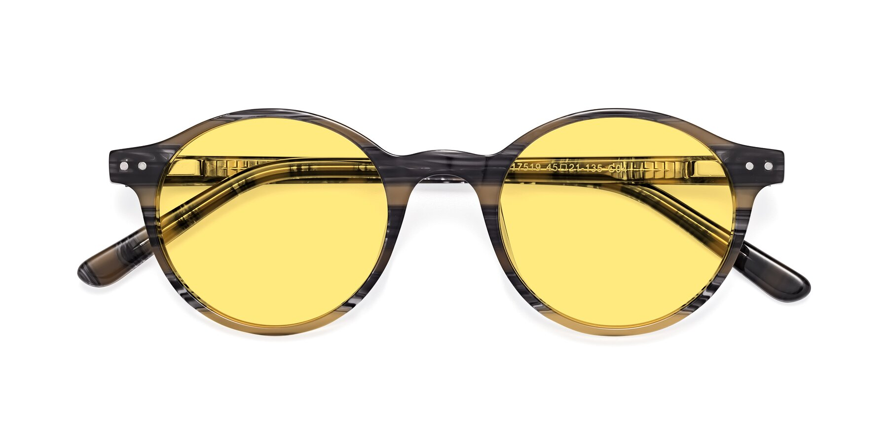 Folded Front of 17519 in Stripe Yellow Grey with Medium Yellow Tinted Lenses