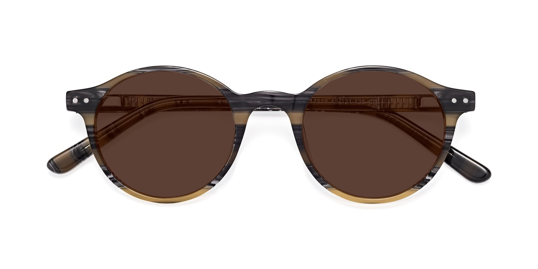 Folded Front of 17519 in Stripe Yellow Grey with Brown Tinted Lenses