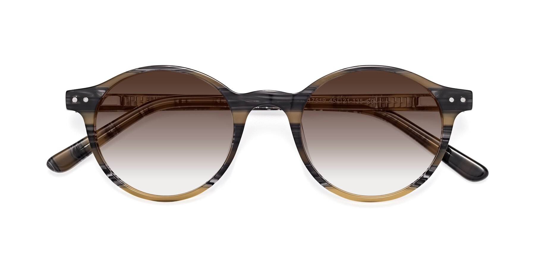 Folded Front of 17519 in Stripe Yellow Grey with Brown Gradient Lenses