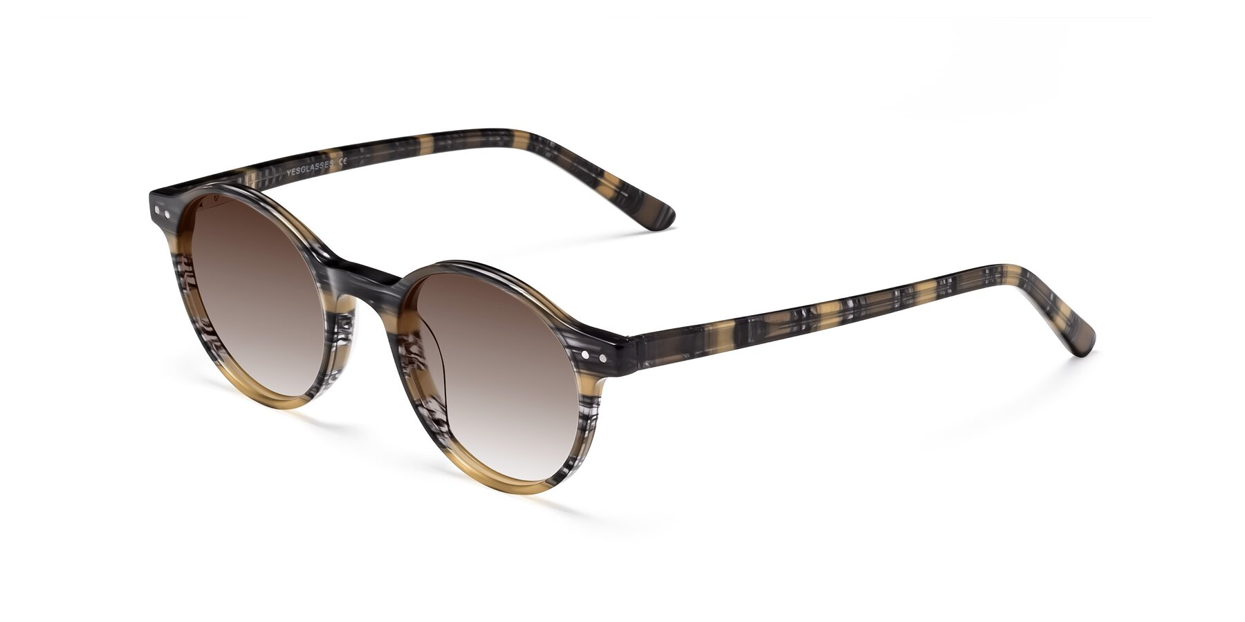 Angle of 17519 in Stripe Yellow Grey with Brown Gradient Lenses
