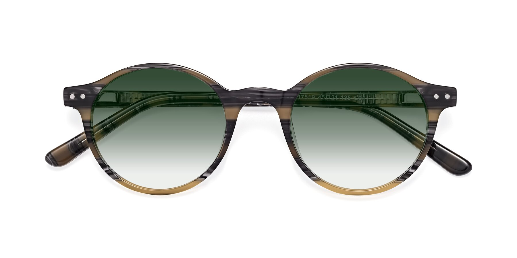 Folded Front of 17519 in Stripe Yellow Grey with Green Gradient Lenses