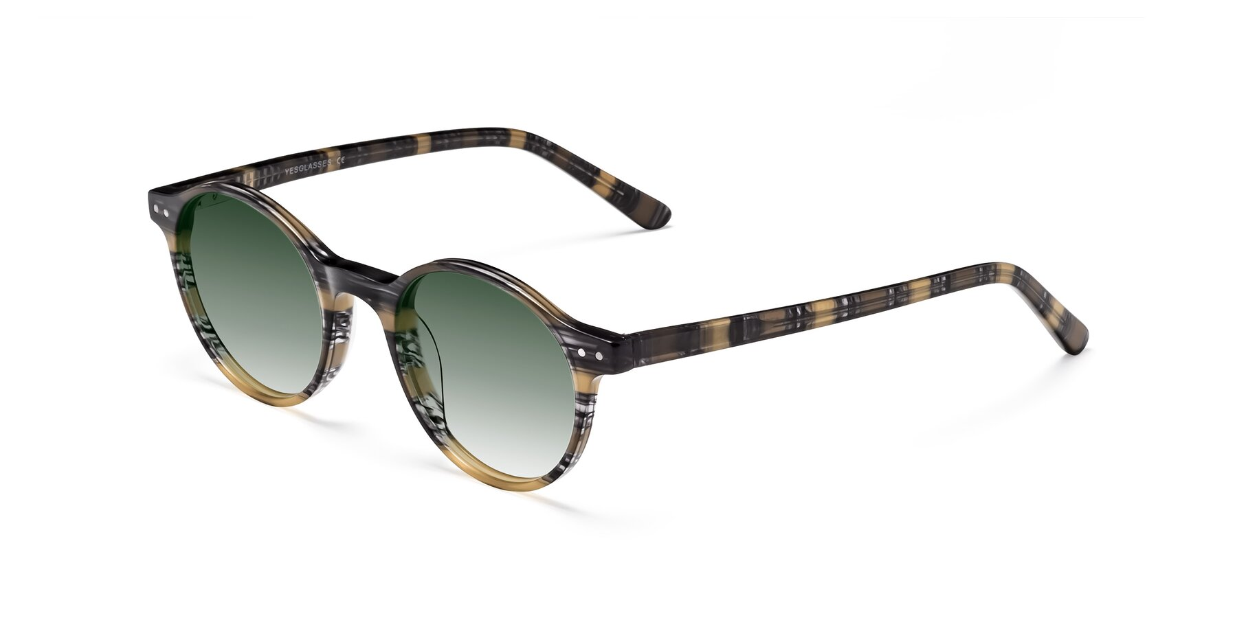 Angle of 17519 in Stripe Yellow Grey with Green Gradient Lenses