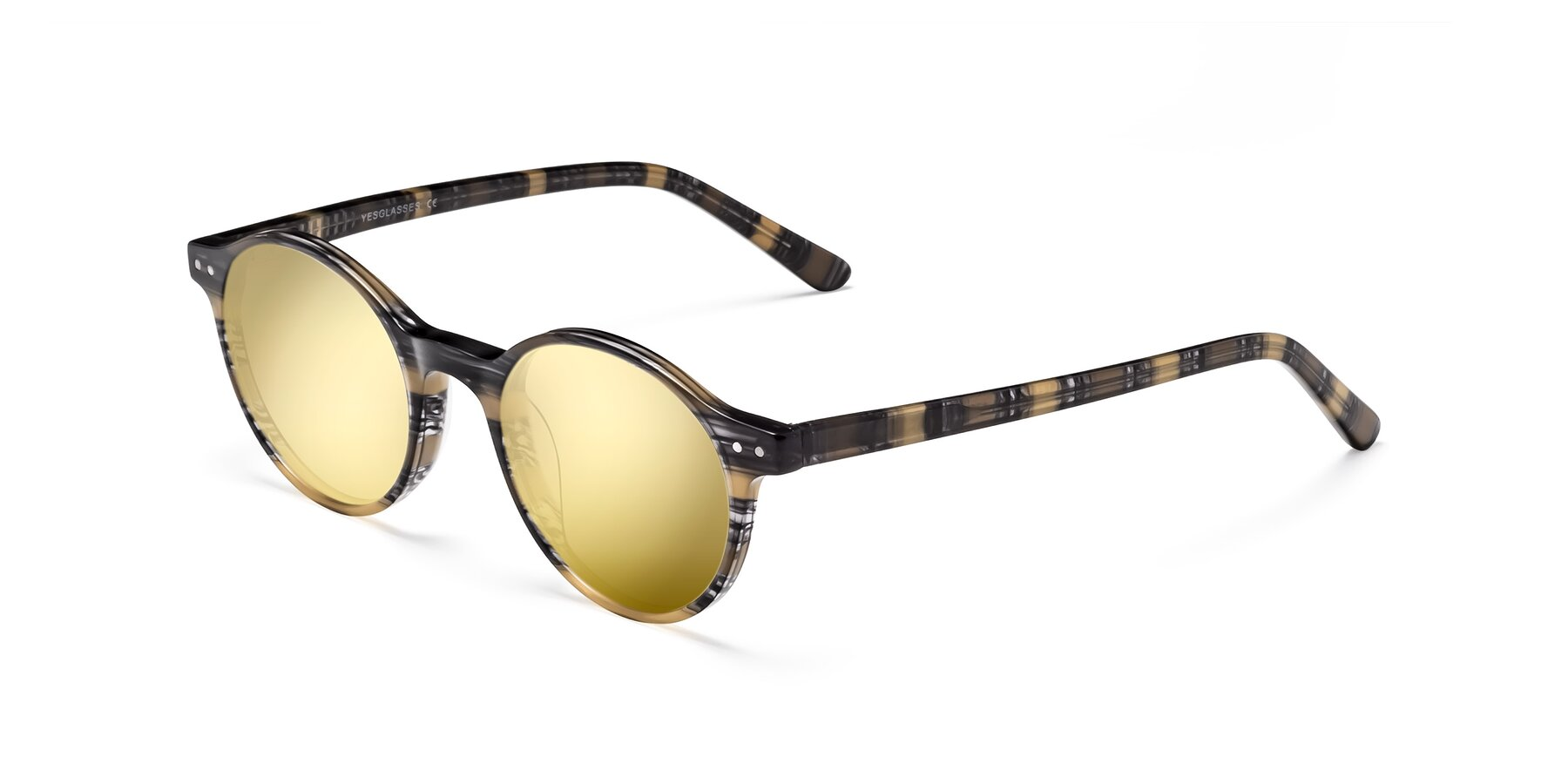 Angle of 17519 in Stripe Yellow Grey with Gold Mirrored Lenses
