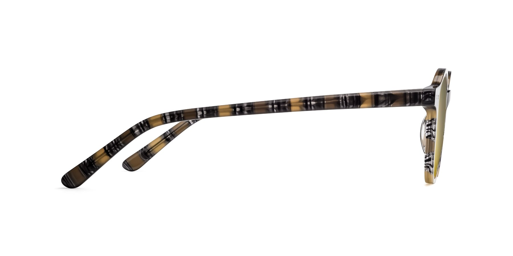 Side of 17519 in Stripe Yellow Grey with Gold Mirrored Lenses