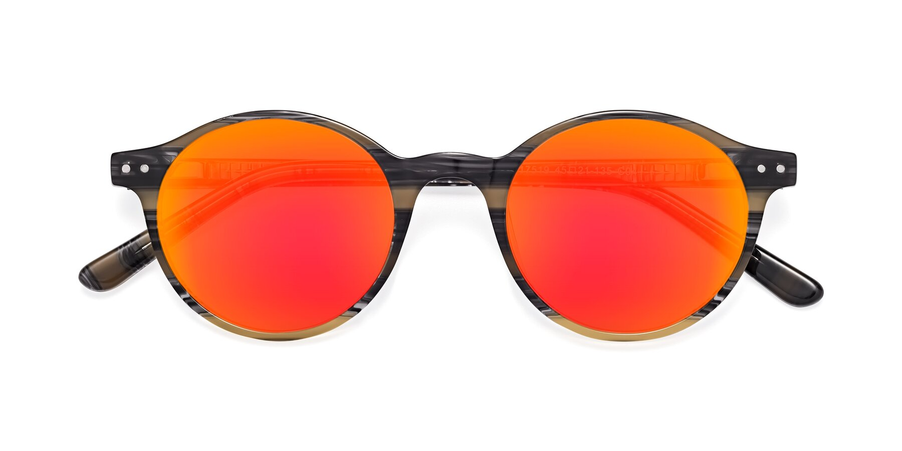 Folded Front of 17519 in Stripe Yellow Grey with Red Gold Mirrored Lenses