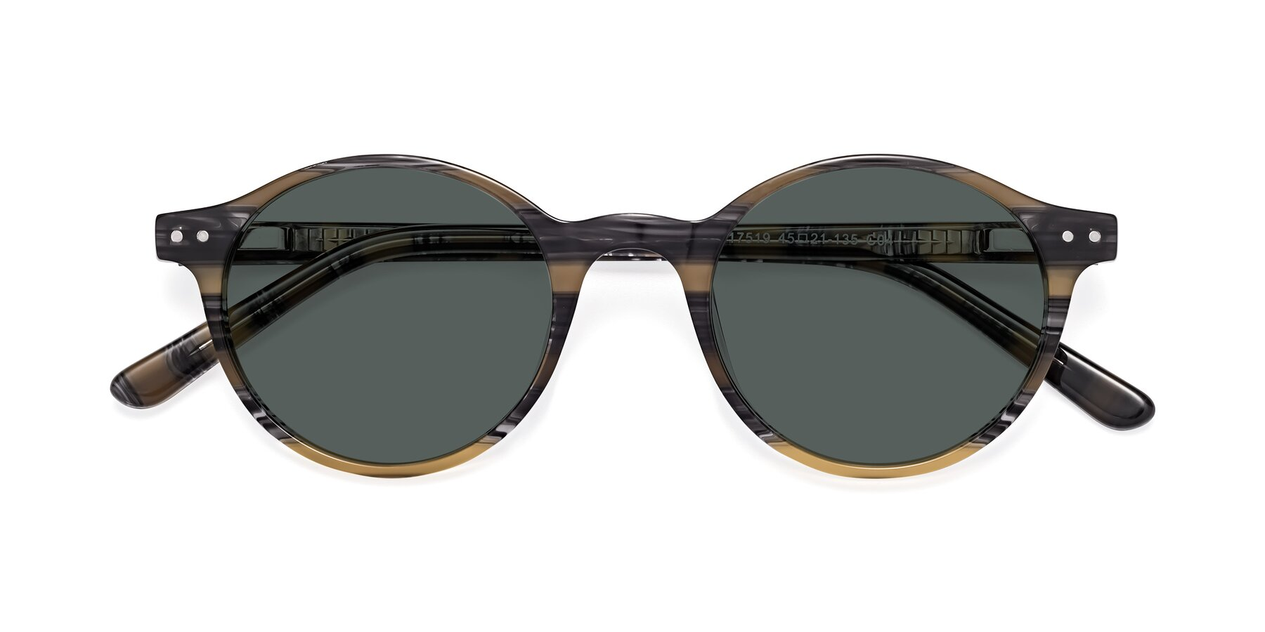 Folded Front of 17519 in Stripe Yellow Grey with Gray Polarized Lenses