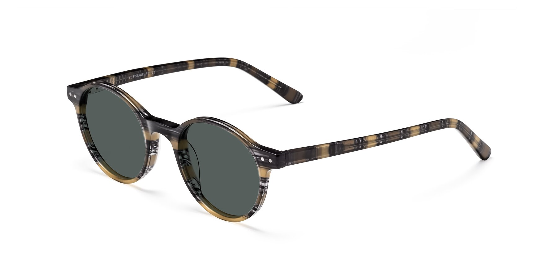Angle of 17519 in Stripe Yellow Grey with Gray Polarized Lenses
