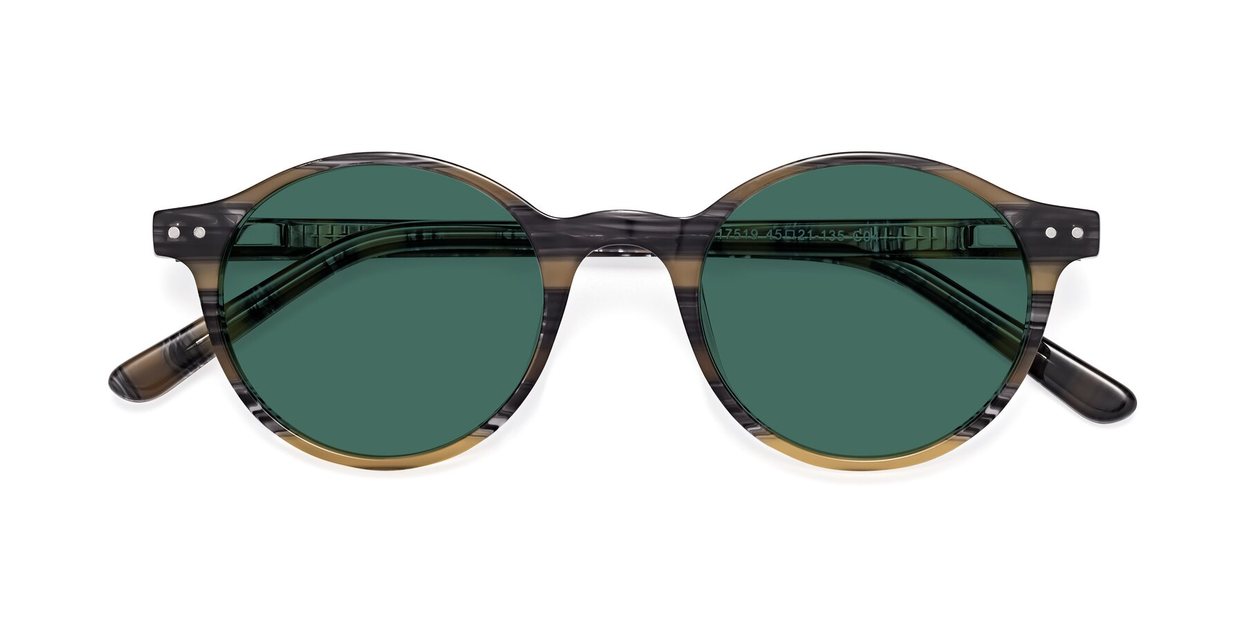 Folded Front of 17519 in Stripe Yellow Grey with Green Polarized Lenses