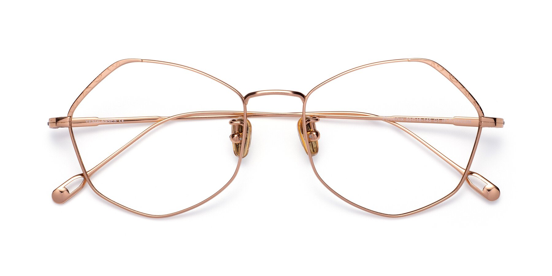 Folded Front of Phoenix in Rose Gold with Clear Eyeglass Lenses