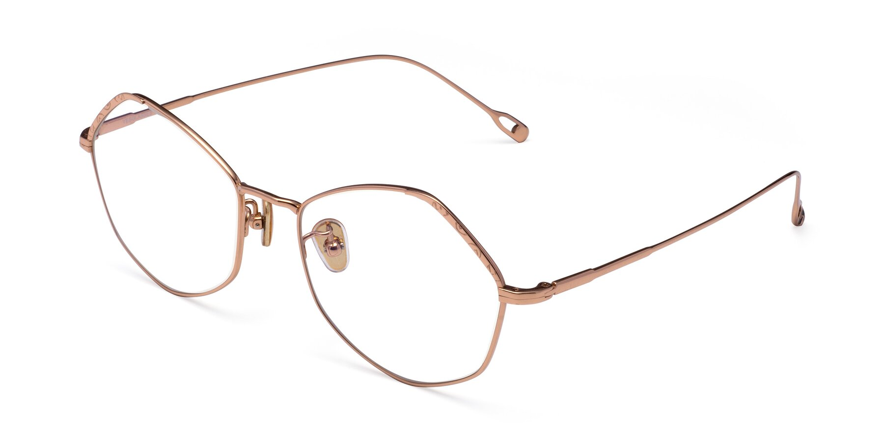 Angle of Phoenix in Rose Gold with Clear Eyeglass Lenses