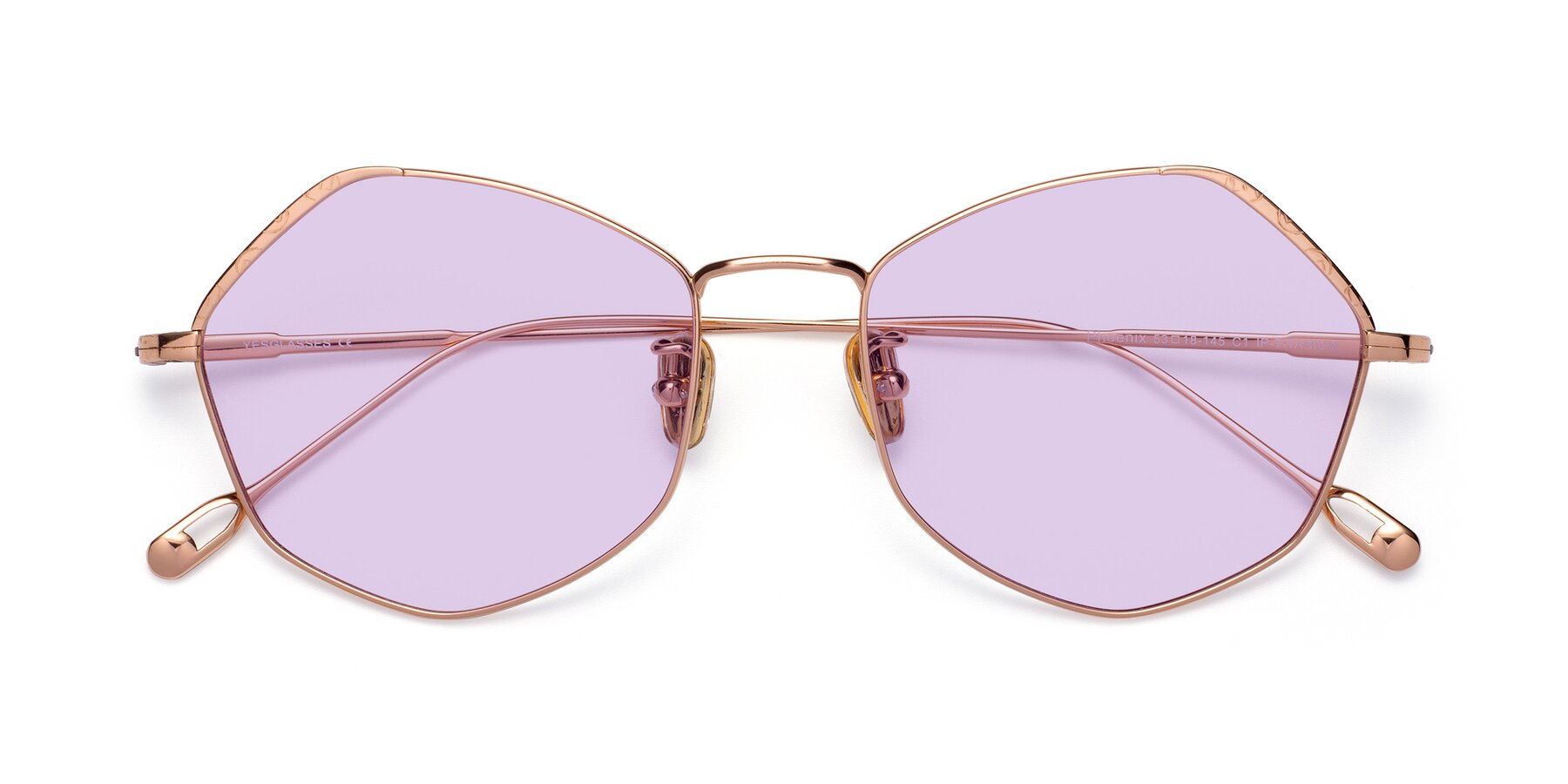 Folded Front of Phoenix in Rose Gold with Light Purple Tinted Lenses