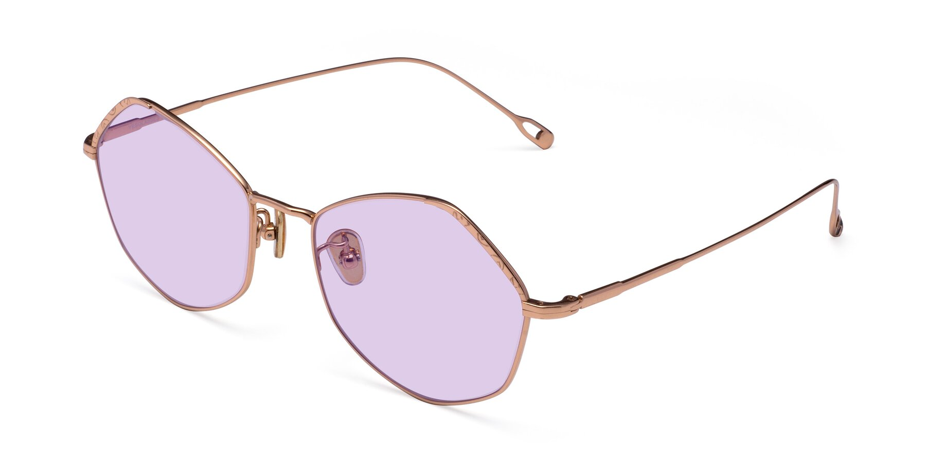 Angle of Phoenix in Rose Gold with Light Purple Tinted Lenses