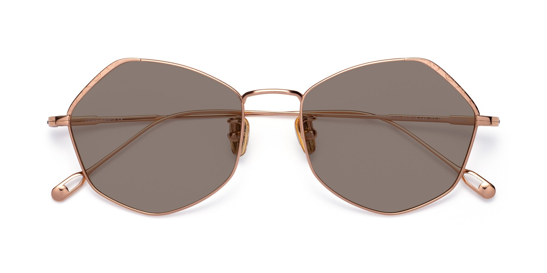 Folded Front of Phoenix in Rose Gold with Medium Brown Tinted Lenses