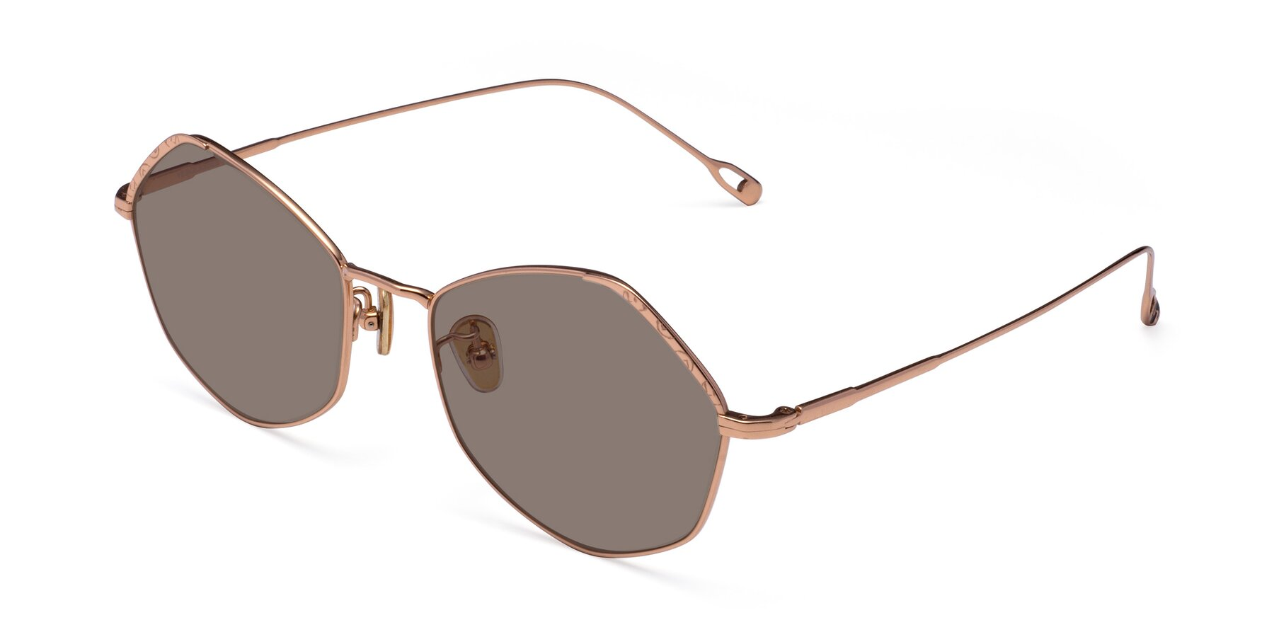 Angle of Phoenix in Rose Gold with Medium Brown Tinted Lenses
