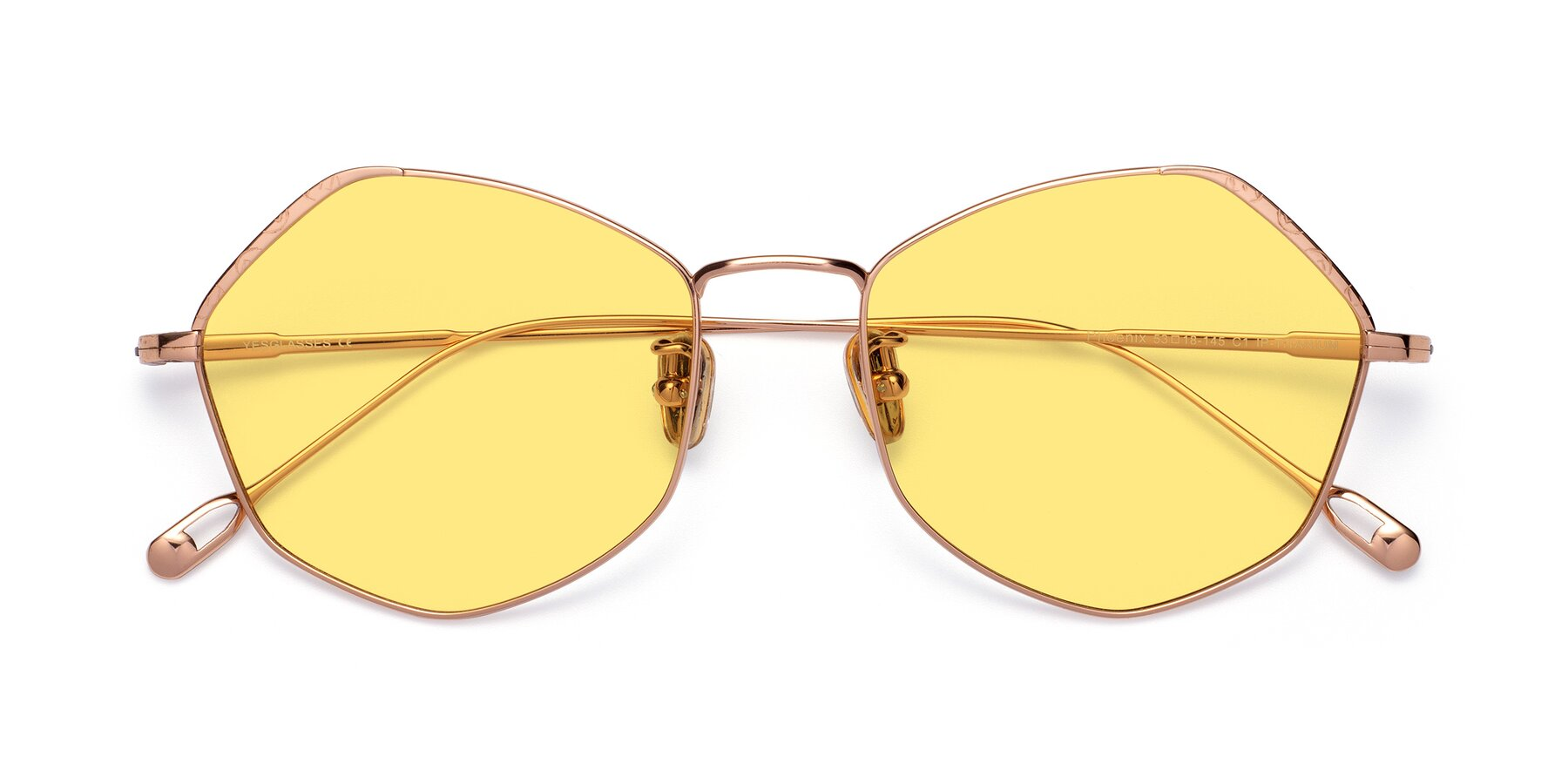Folded Front of Phoenix in Rose Gold with Medium Yellow Tinted Lenses