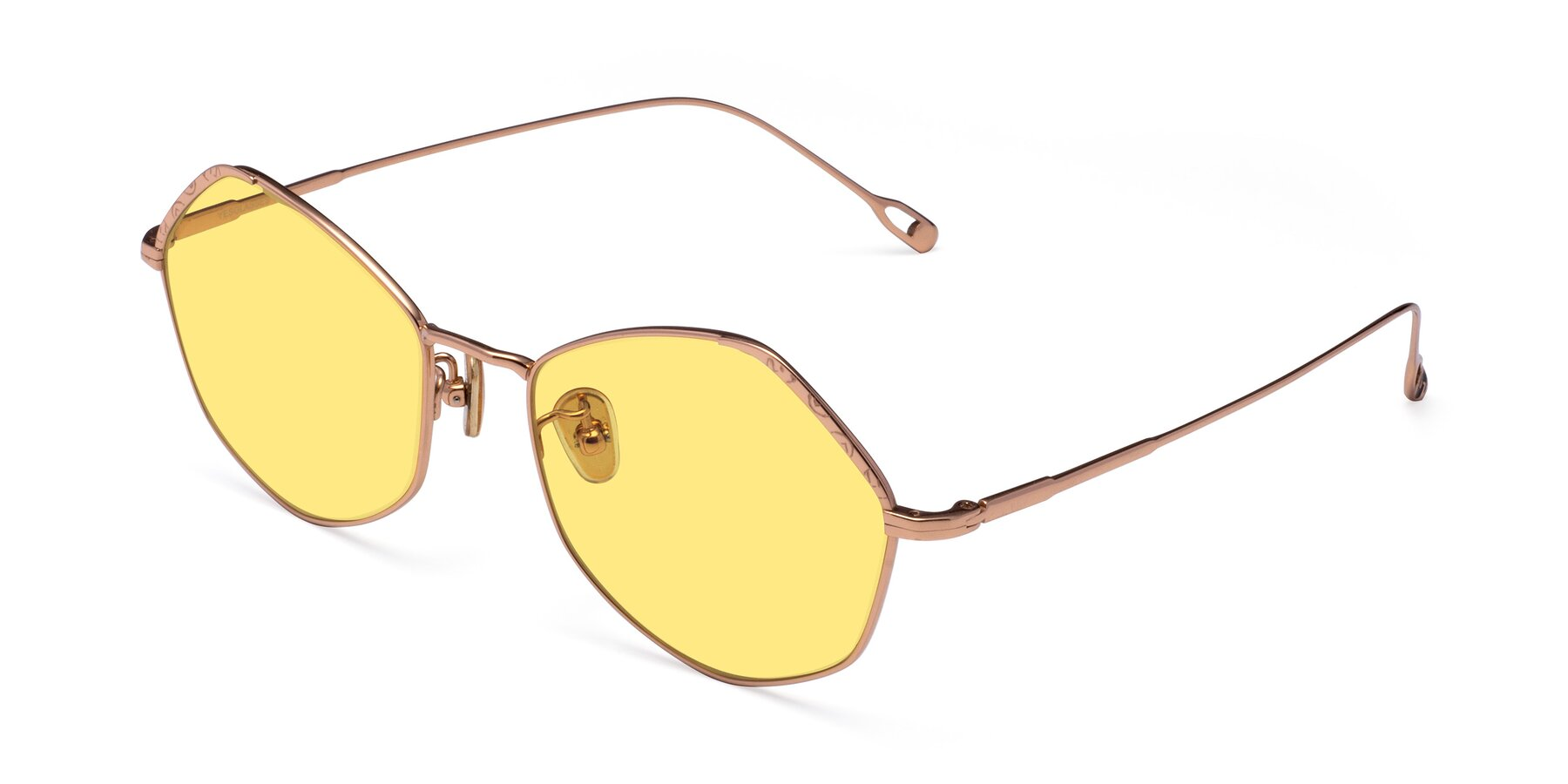 Angle of Phoenix in Rose Gold with Medium Yellow Tinted Lenses