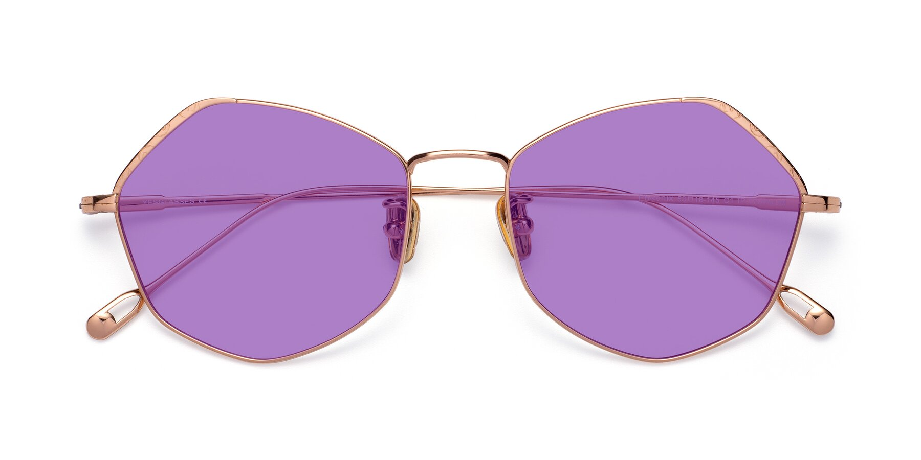 Folded Front of Phoenix in Rose Gold with Medium Purple Tinted Lenses