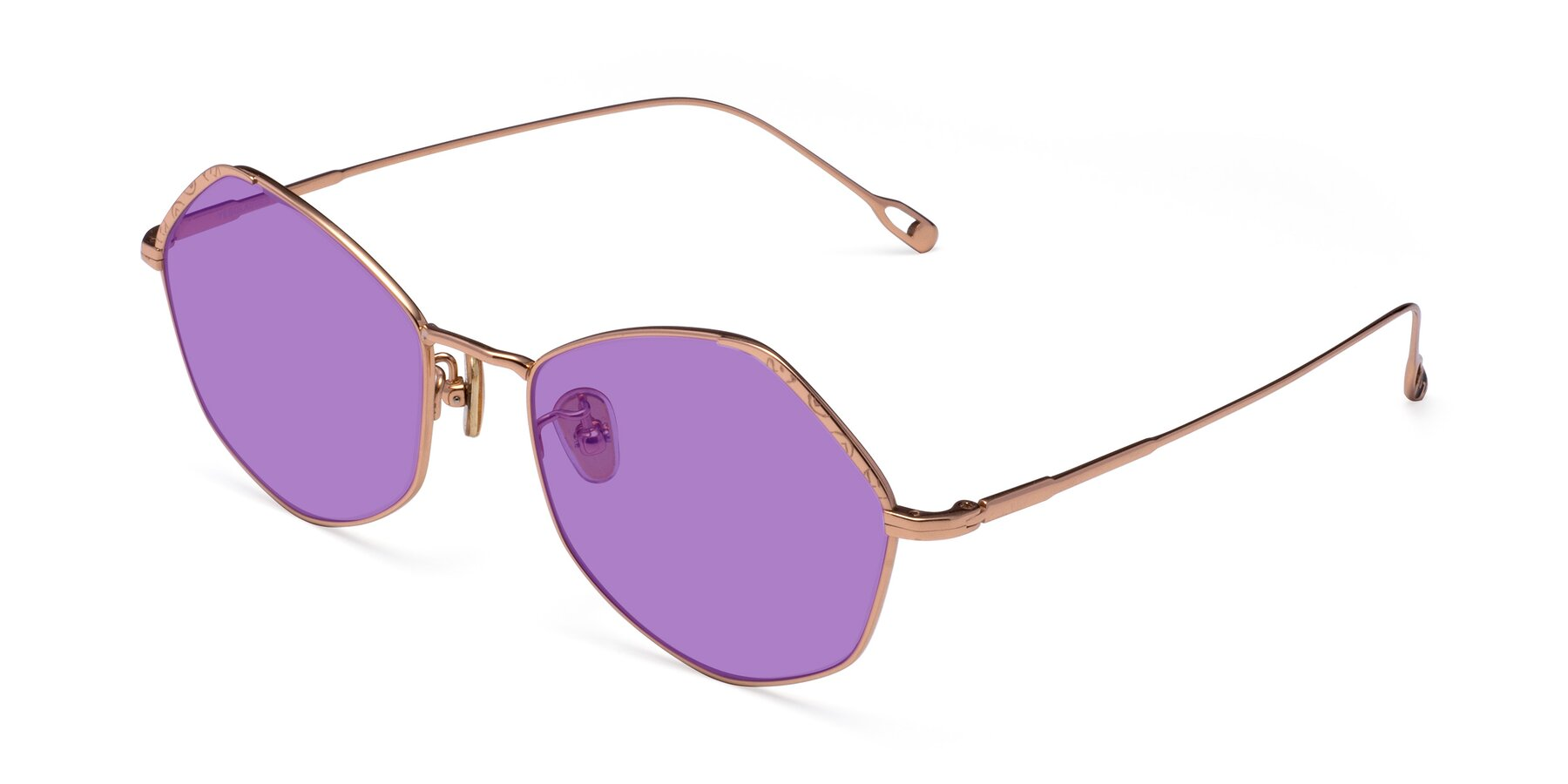 Angle of Phoenix in Rose Gold with Medium Purple Tinted Lenses
