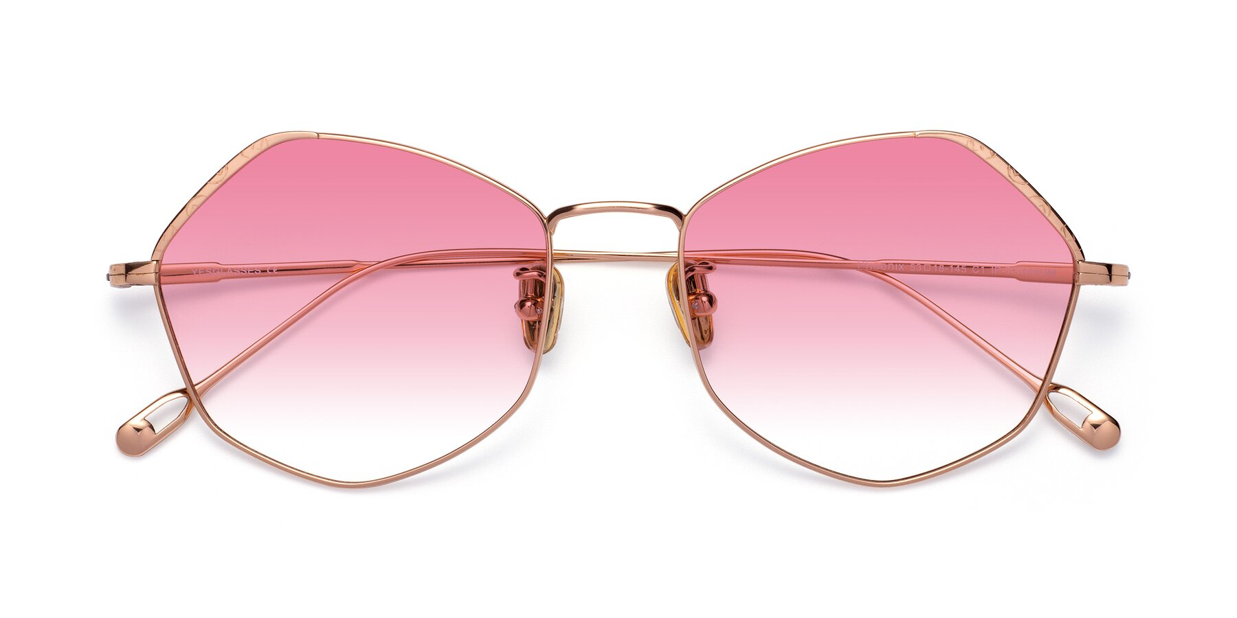 Folded Front of Phoenix in Rose Gold with Pink Gradient Lenses