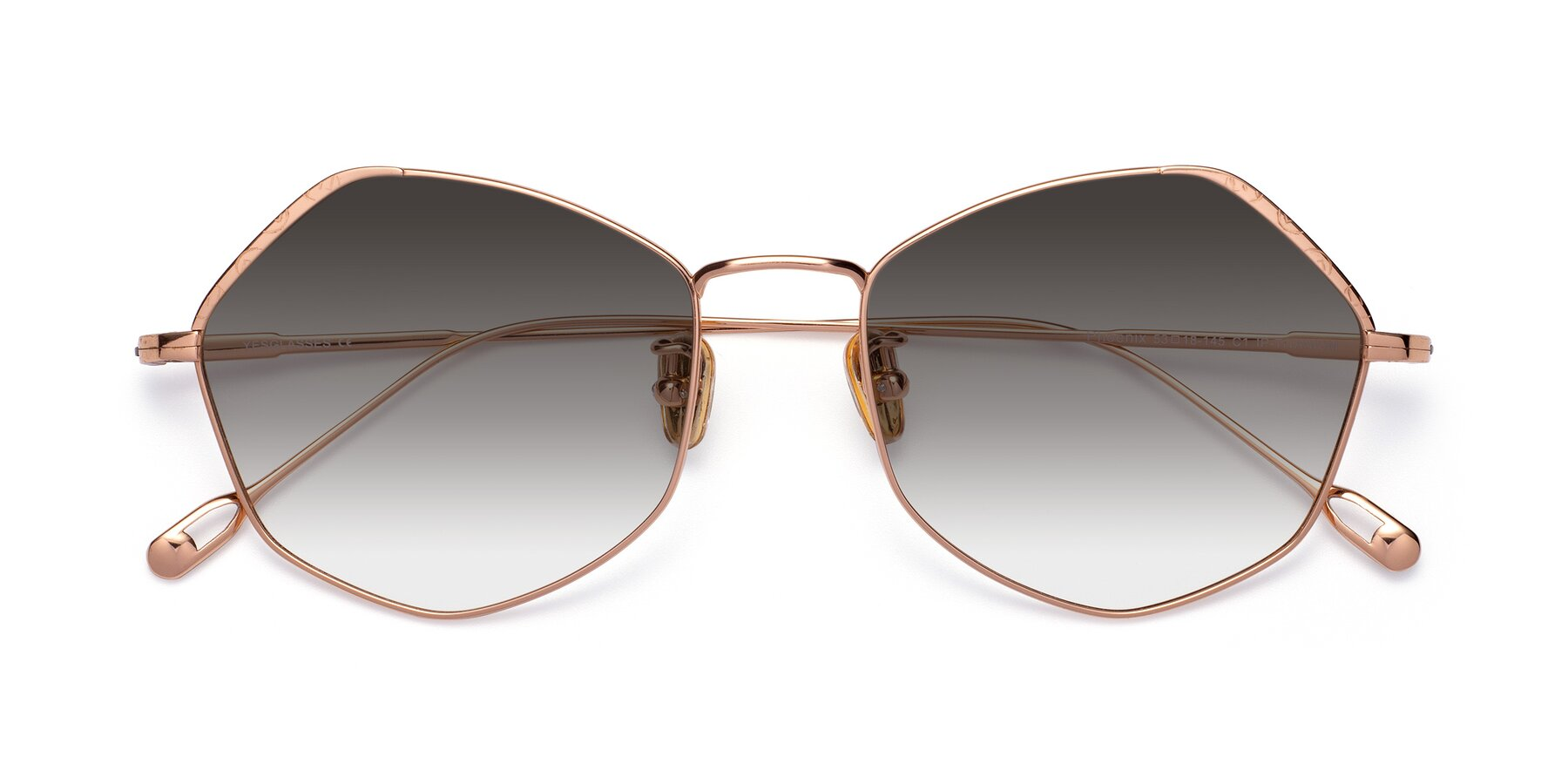 Folded Front of Phoenix in Rose Gold with Gray Gradient Lenses