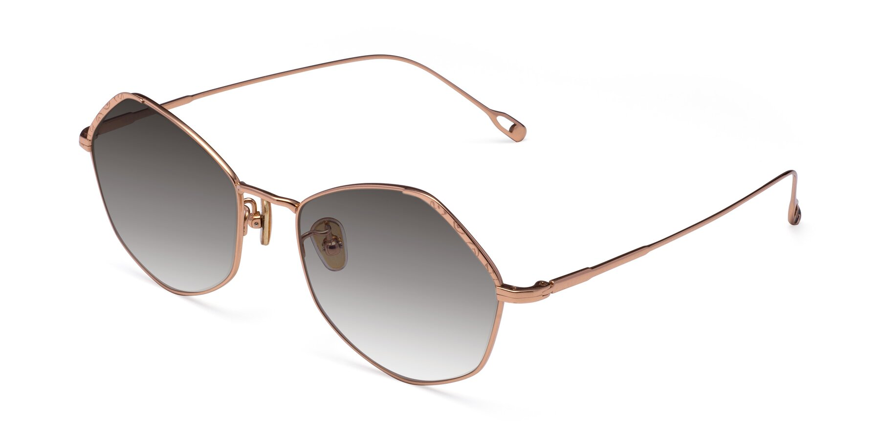 Angle of Phoenix in Rose Gold with Gray Gradient Lenses