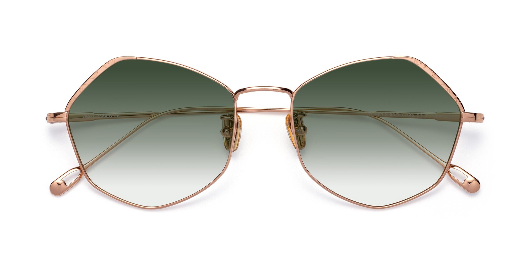 Folded Front of Phoenix in Rose Gold with Green Gradient Lenses