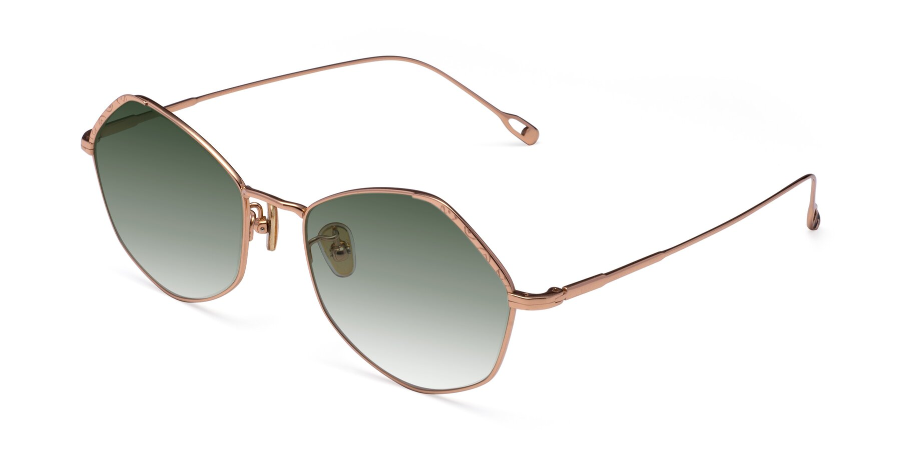 Angle of Phoenix in Rose Gold with Green Gradient Lenses
