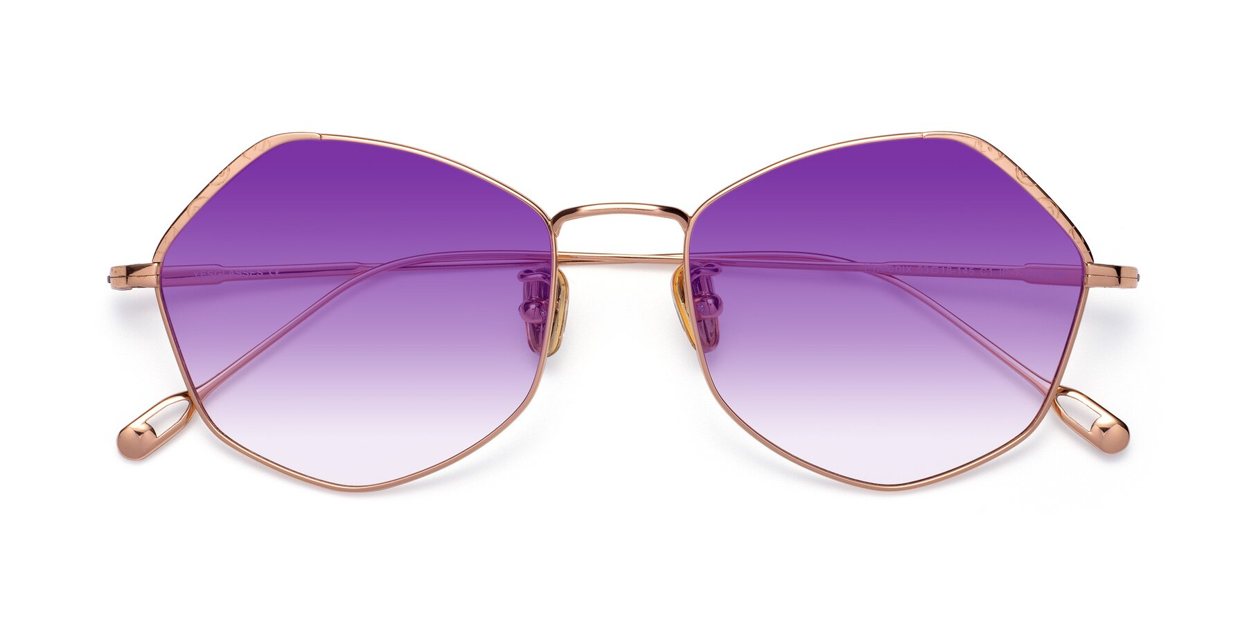 Folded Front of Phoenix in Rose Gold with Purple Gradient Lenses