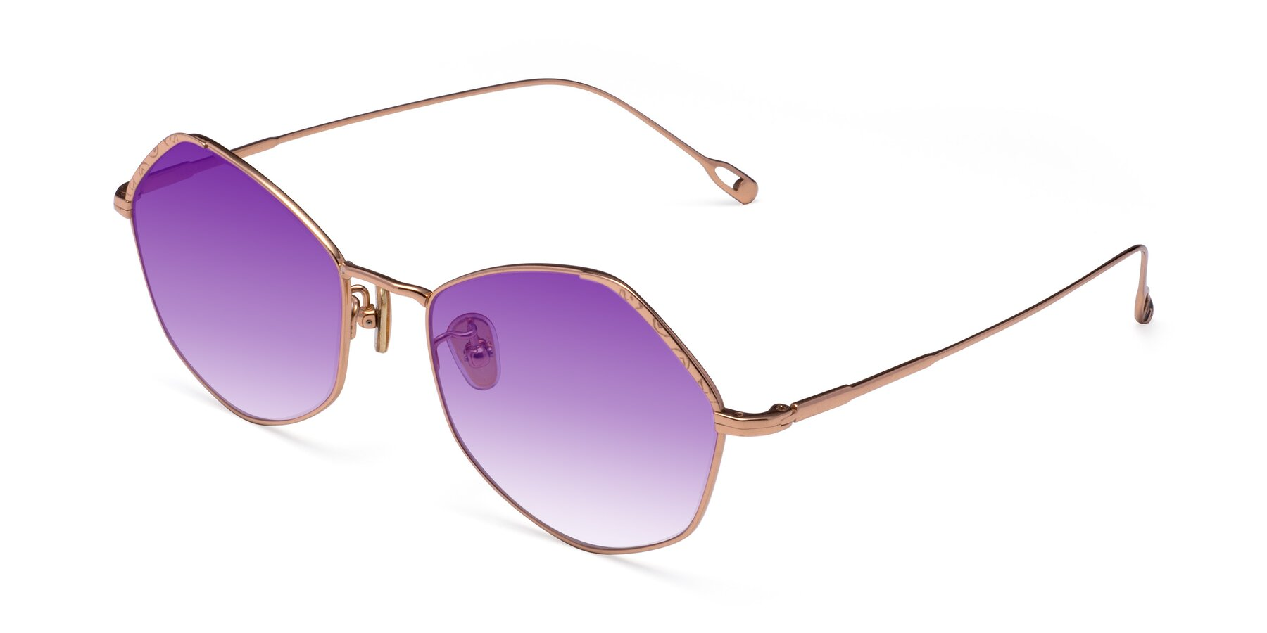 Angle of Phoenix in Rose Gold with Purple Gradient Lenses
