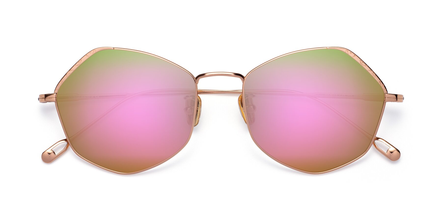Folded Front of Phoenix in Rose Gold with Pink Mirrored Lenses