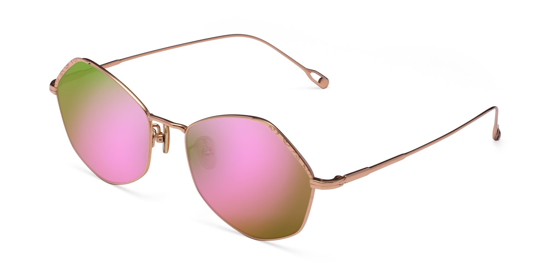 Angle of Phoenix in Rose Gold with Pink Mirrored Lenses