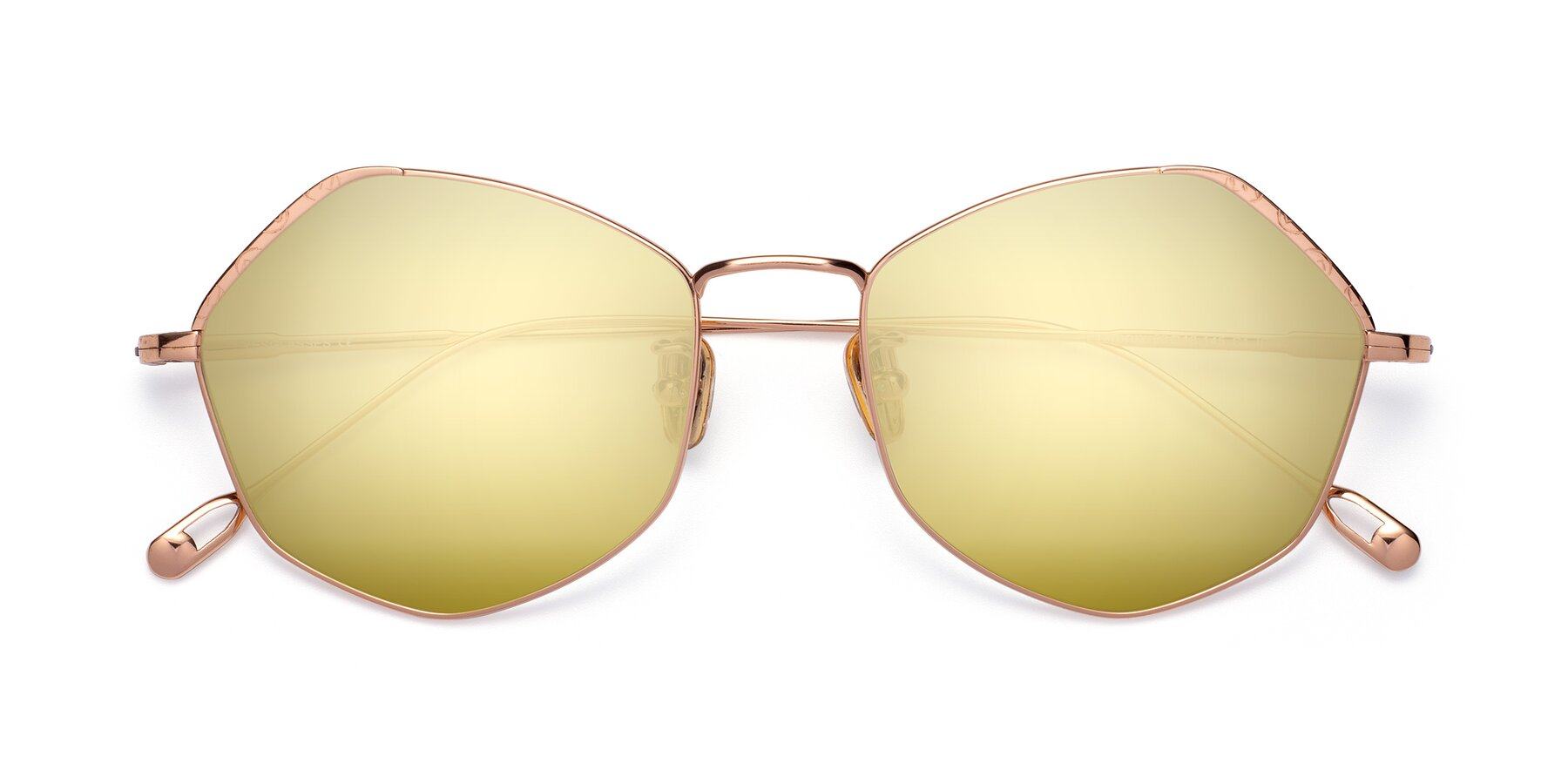 Folded Front of Phoenix in Rose Gold with Gold Mirrored Lenses