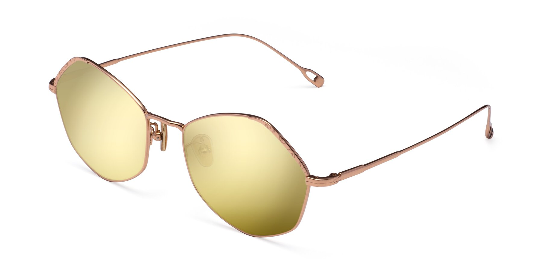 Angle of Phoenix in Rose Gold with Gold Mirrored Lenses