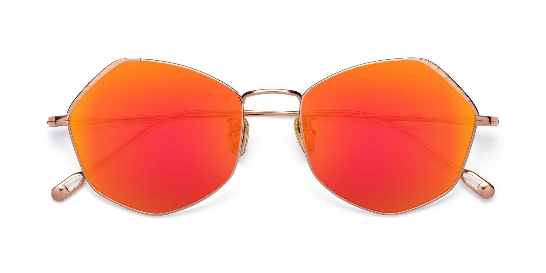 Folded Front of Phoenix in Rose Gold with Red Gold Mirrored Lenses