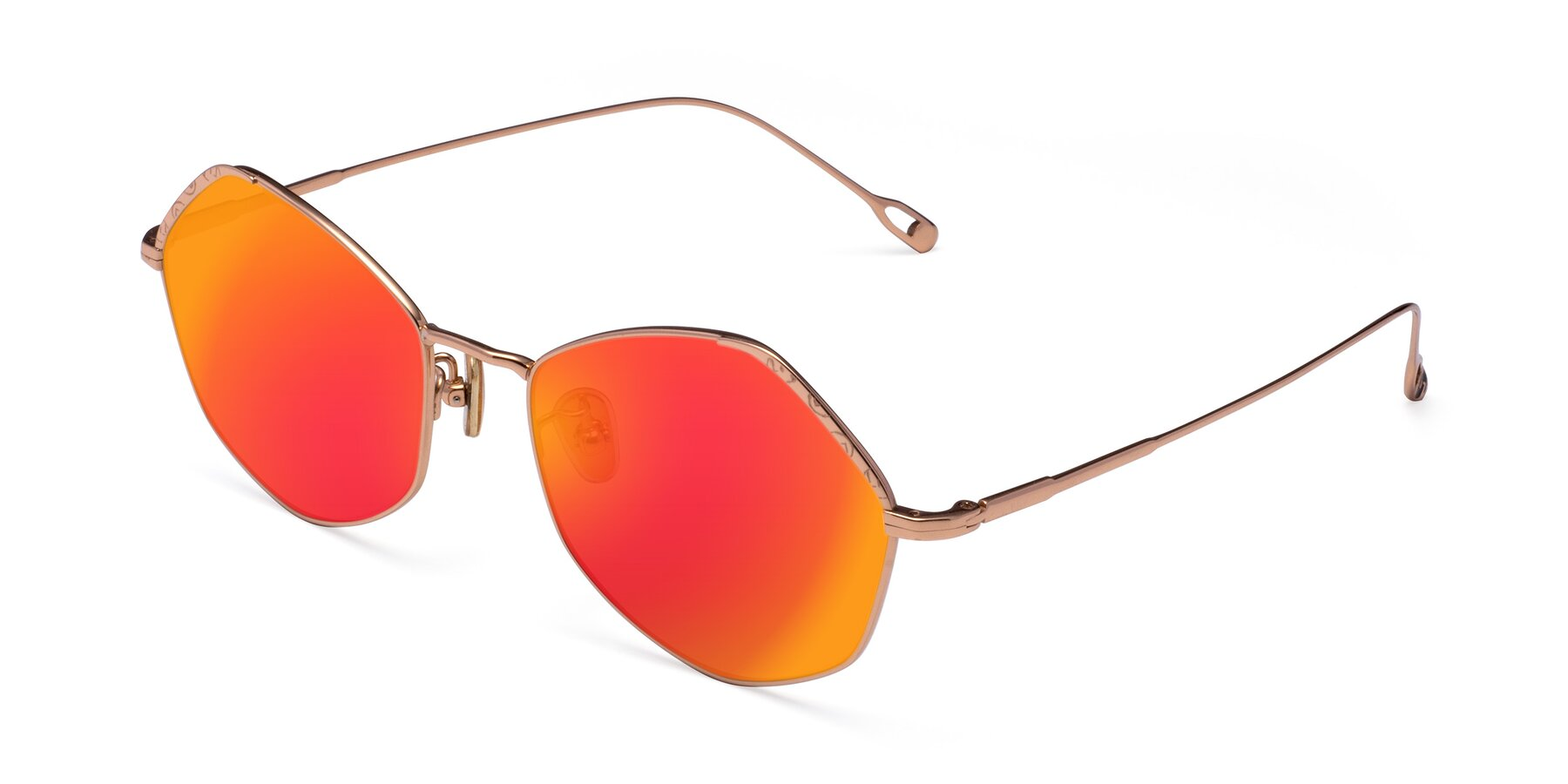 Angle of Phoenix in Rose Gold with Red Gold Mirrored Lenses