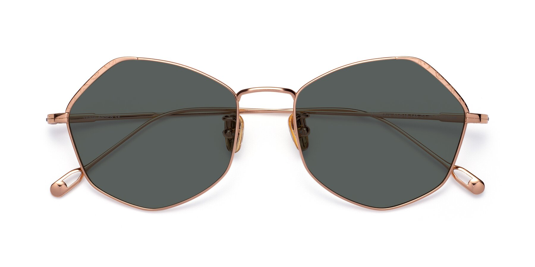 Folded Front of Phoenix in Rose Gold with Gray Polarized Lenses