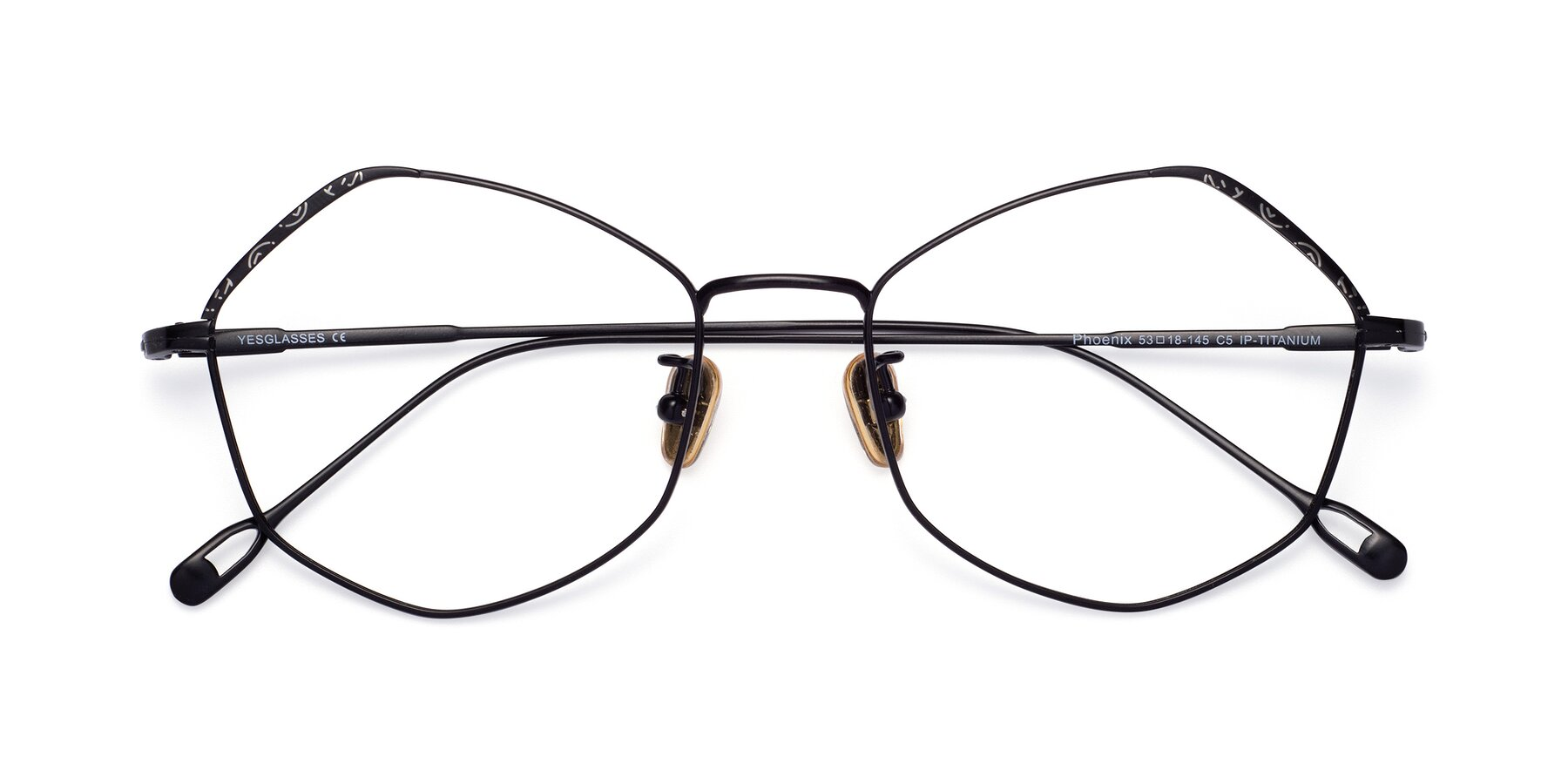 Folded Front of Phoenix in Black with Clear Blue Light Blocking Lenses