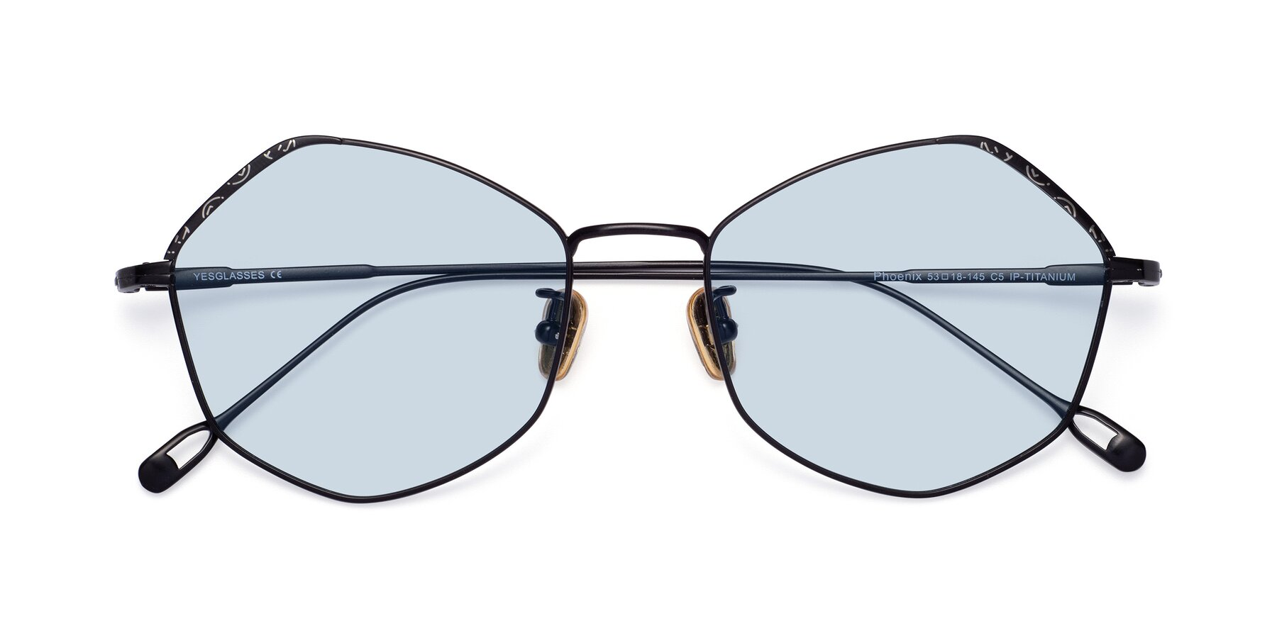 Folded Front of Phoenix in Black with Light Blue Tinted Lenses
